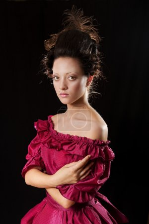 Woman in Baroque Historical Dress, Young Fashion Model Historic Portrait