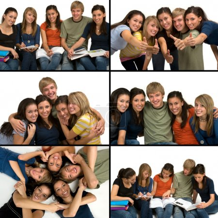 Photo pour Diverse group of students ( Caucasian, Middle Eastern, Hispanic) - image libre de droit