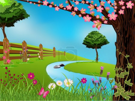 Illustration for Spring scene with flowers, trees and beautiful sky - Royalty Free Image