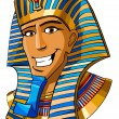 Cartoon smiling face of Egyptian pharaoh on a whit...