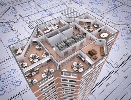Photo pour Coupe 3D de l'immeuble de bureaux sur le dessin de l'architecte. - image libre de droit