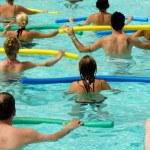 Doing water aerobic in pool...