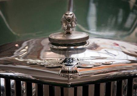 The vintage emblem car Jaguar