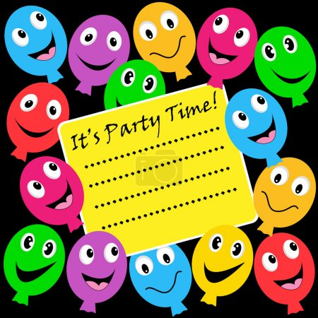 Illustration for Balloons party invitation with happy faces in assorted colors on a black background. Copy space for text. - Royalty Free Image