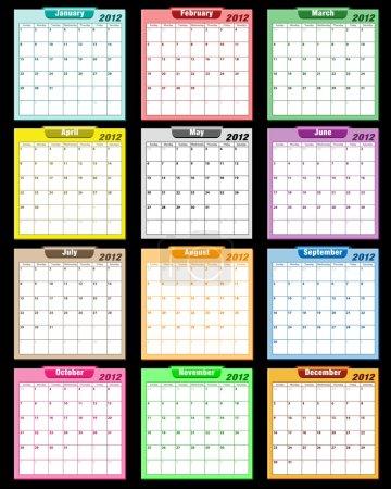 Calendar 2012 assorted colors