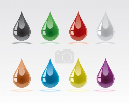 Set from multicoloured drops with reflections