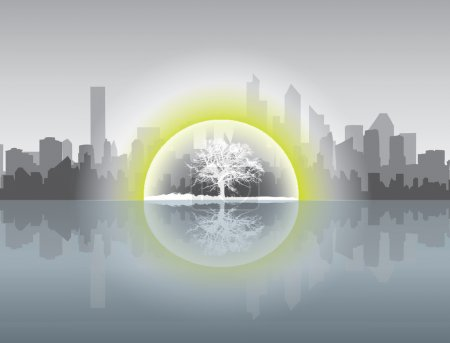 Cityscape in ecological concept with tree