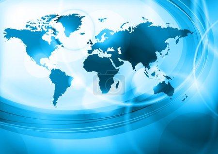 Illustration pour Fond bleu avec carte du monde - image libre de droit