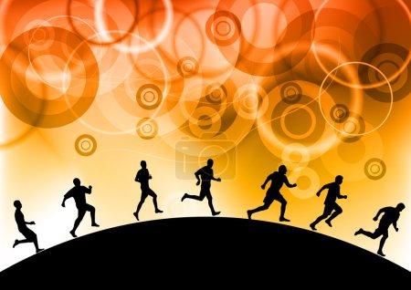 Illustration pour Silhouettes des athlètes sur le fond - image libre de droit
