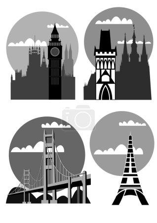 Photo pour Série d'illustrations des villes célèbres - Londres, Paris, San Francisco, Prague - vecteur - image libre de droit