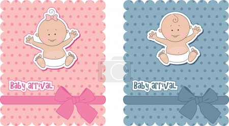 Photo for Baby arrival cards. Boy and girl - Royalty Free Image