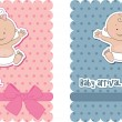 Baby arrival cards. Boy and girl...