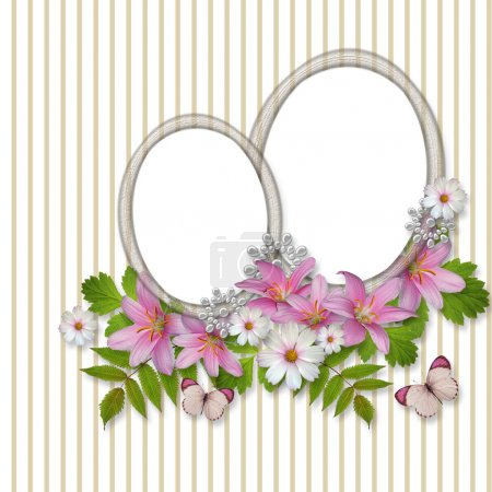 Abstract striped background with frame and beautiful bouquet