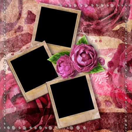 Romantic vintage background with frames, dry rose and drops