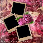Romantique fond vintage avec cadres, rose sèche et gouttes