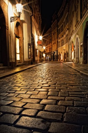 Photo for Mysterious narrow alley with lanterns in Prague at night - Royalty Free Image