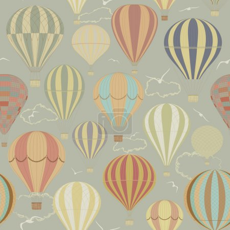 Illustration for Seamless pattern with hot air balloons in a retro style - Royalty Free Image