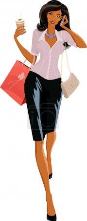 Illustration pour Illustration vectorielle d'une belle femme avec des sacs marchant et parlant au téléphone - image libre de droit