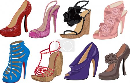 Illustration pour Illustration vectorielle de chaussures à talons hauts de mode sur fond blanc - image libre de droit