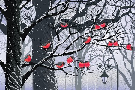Illustration for Bullfinches on trees in winter city - Royalty Free Image