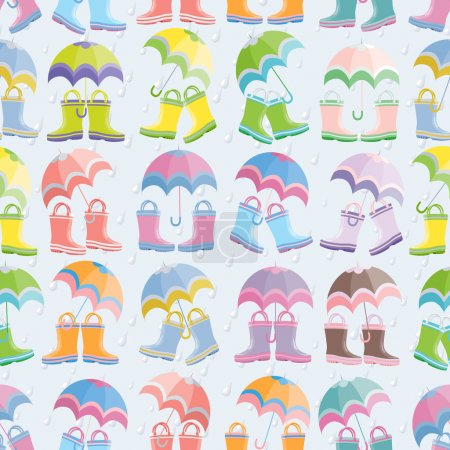 Rubber boots and umbrellas seamless pattern