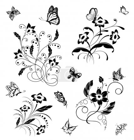 Illustration for Set with butterflies and flower patterns - Royalty Free Image