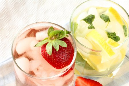 Ice Cold Lemonade and strawberry cocktail...