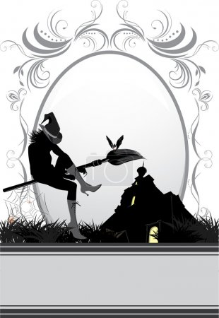 Halloween witch on a background of nightly castle. Card