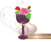 Vase with bouquet of roses and hearts Vector illustration