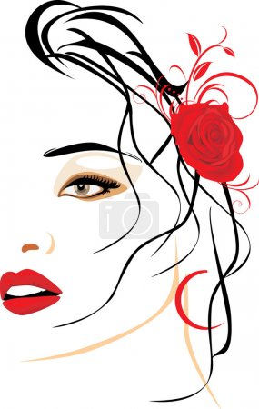Illustration for Portrait of beautiful woman with red rose in hair. Vector illustration - Royalty Free Image