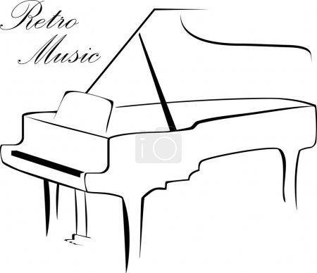 Illustration pour Silhouette de piano isolé sur le blanc. Illustration vectorielle - image libre de droit