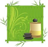 Spa oil in the bamboo frame Vector illustration