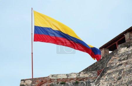 Photo pour Paysage avec drapeau colombien.image horizontale - image libre de droit