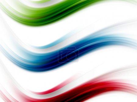Foto de Ondas dinámicas de azules, rojas y verdes sobre fondo blanco - Imagen libre de derechos