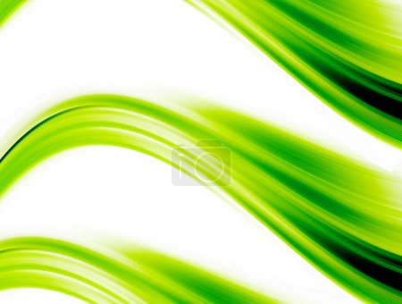 Photo pour Vagues dynamiques vertes sur fond blanc. illustration abstraite - image libre de droit