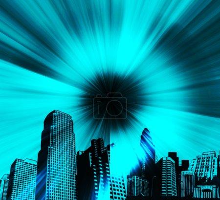 Photo pour Ville fond bleu avec des effets de lumière. illustration abstraite - image libre de droit