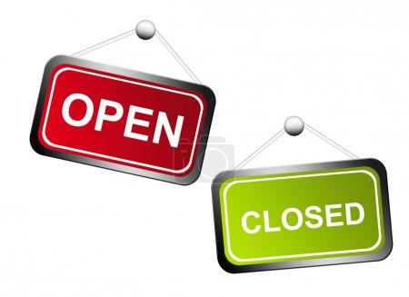 Photo pour Panneaux rouges et verts ouverts et fermés sur fond blanc - image libre de droit