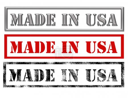 Photo pour Metallic, red and black made in usa over white background.illustration - image libre de droit