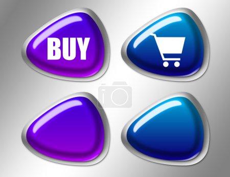 Photo pour Bleu et violet acheter signe avec bord argent sur fond gris - image libre de droit