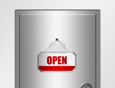 Photo pour Panneau ouvert rouge et blanc avec bord métallique argenté sur porte métallique argentée - image libre de droit
