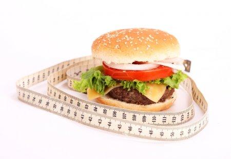 Hamburger and measuring tape