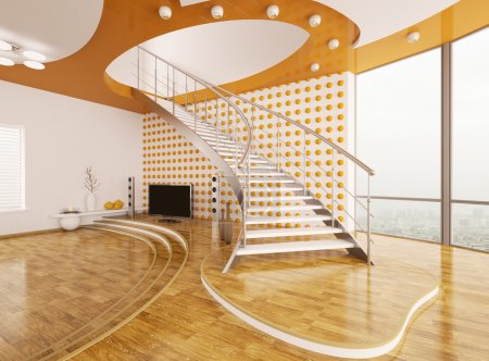 Living room with staircase interior design 3d render