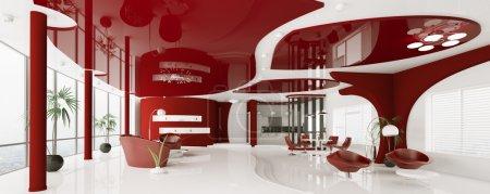 Foto de Interior moderno apartamento rojo blanco panorama render 3d - Imagen libre de derechos