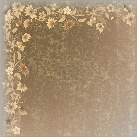 Illustration for Abstract grunge background with flowers on beige texture - Royalty Free Image