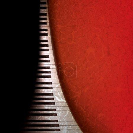 Illustration pour Abstrait fond de musique grunge avec touches de piano sur rouge - image libre de droit