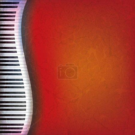 Illustration pour Abstrait rouge de la musique grunge avec les touches du piano - image libre de droit
