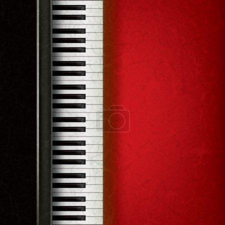 Illustration pour Fond grunge musique abstraite avec piano sur rouge - image libre de droit