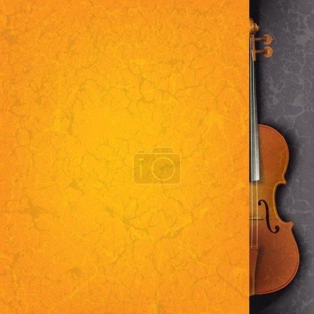 Illustration pour Musique de fond grunge abstraite orange avec violon sur fond noir - image libre de droit