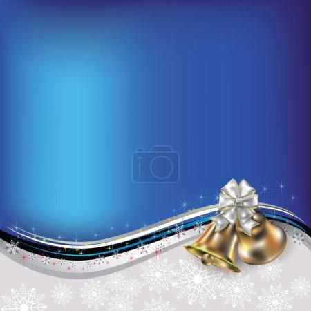 Illustration pour Abstrait Noël bleu blanc salutation avec cloches et arc - image libre de droit