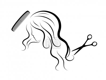 Illustration for Silhouette of sexy lady head - Royalty Free Image